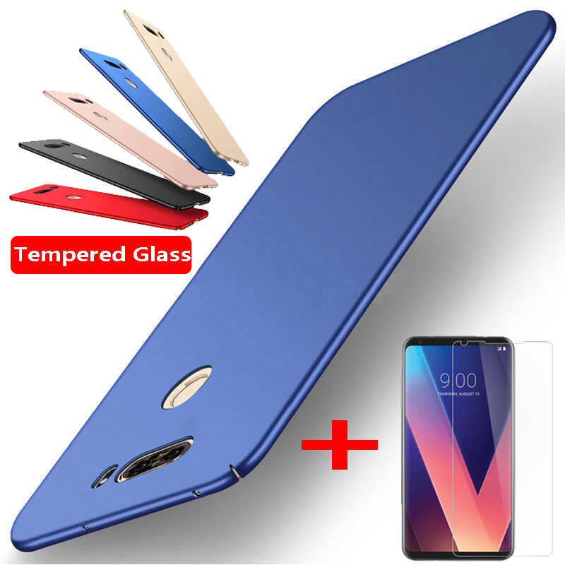 NOWAL Ultra Slim Hard Plastic+Tempered Glass Screen Protect Flim 2in1 Phone Case For LG G7 G6 G4 G5 Q6 Q7 V20 V30 K10 2018 Cover