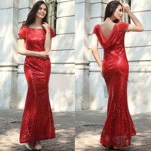 sequin sexy long dress deep v neck Short sleeve dress women summer silver sequin red blue sparkling gold fishtail backless dress