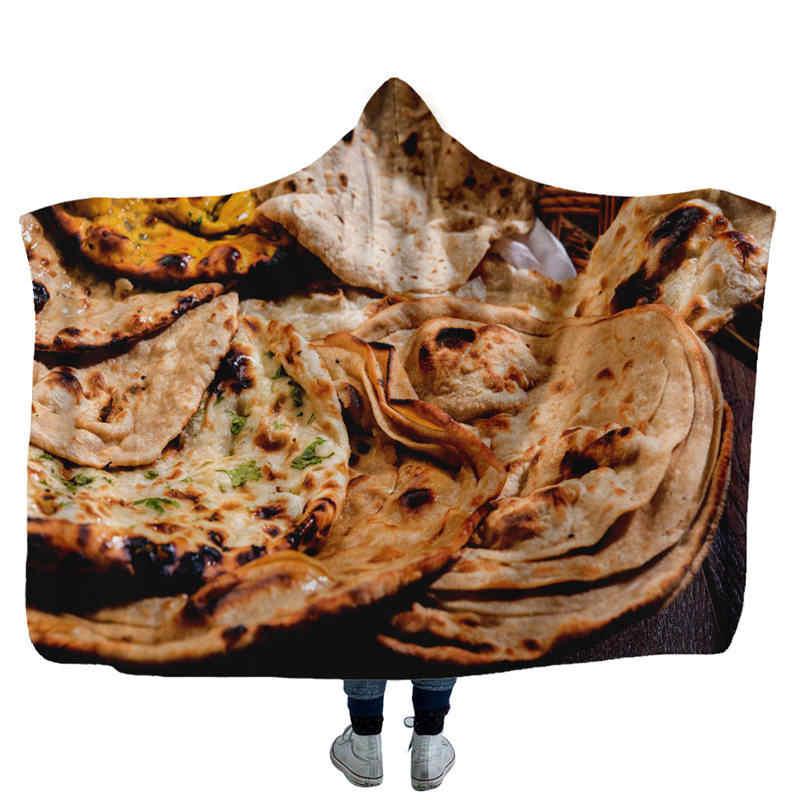 Creative Mexican Burrito Hooded Blanket 3D Printed Corn Tortilla Flannel Sofa Wrap Throw Blanket Soft Bedspread Bedding 150cm