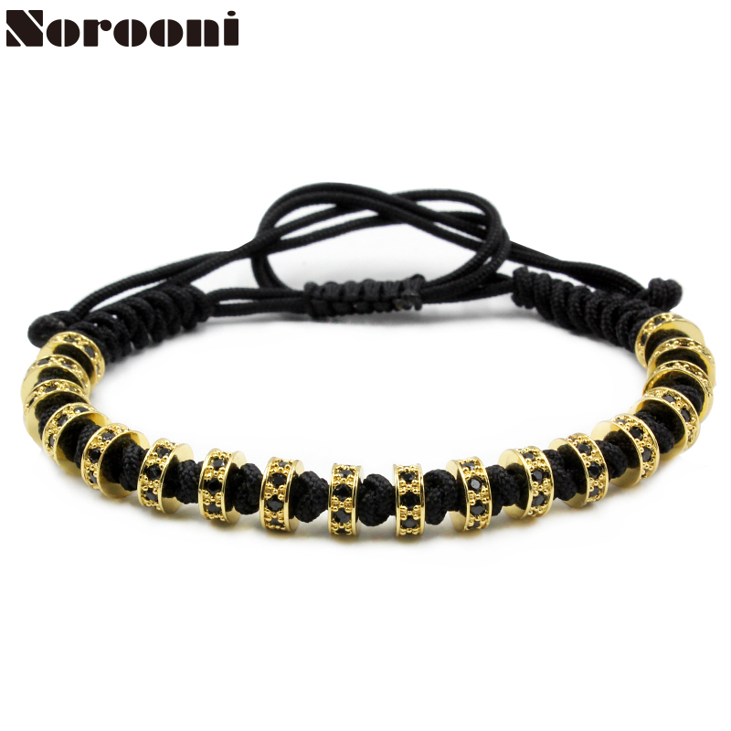 New Men Bracelets Gold Color Beaded Weaving Haute Couture Fastness Micro Inlay Zircon CZ ...