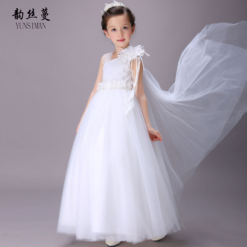 Brand Kids Flower Girls Dresses 2 4 6 8 10 to 12 Years Kids White Flower Elegant Dress Girl Sweet Party Princess Ball Gown 33C8 4 to 12 years kids
