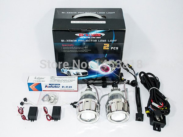 2.5HQ Hot Sale 2.5'' inch Auto HID Bixenon Lens Projector H7 H4 H1 9005 9006 8000K 6000K CCFL Car Bi-xenon kit Double Angel Eyes royalin car styling hid h1 bi xenon headlight projector lens 3 0 inch full metal w 360 devil eyes red blue for h4 h7 auto light