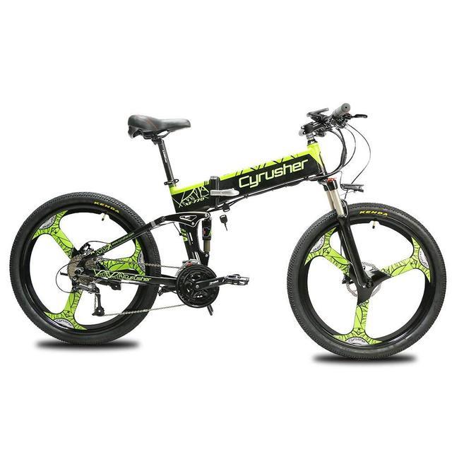 Cyrusher зеленый XF770 27 скоростей полная Подвеска Горный складной электрический велосипед 250 Вт 48 В 10ah Ebike двойной дисковые тормоза