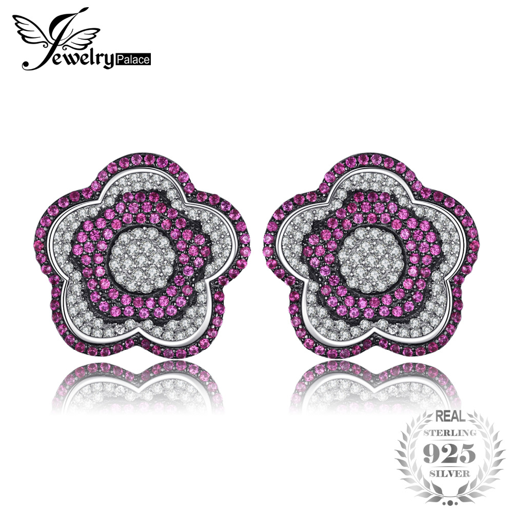 JewelryPalace Flower 1.1ct Created Ruby Pave Clip Earrings 925 Sterling Silver Fine Jewelry Accessories Women Wedding Party Gift