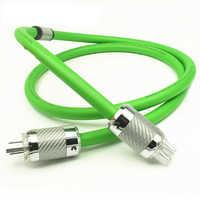 Hi-End 8N OCC plateado 6 núcleos cable de alimentación de fibra de carbono US/EU conector de clavija de alimentación Hifi audio AMP altavoz AC cable de alimentación