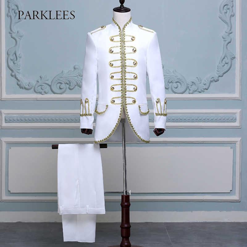 ツーピースステージ衣装のスーツブレザーロングゴールド刺繍スーツ男性スリムフィットステージウエディング結婚式歌手ジャケットオム