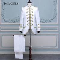 Mens Two Piece Stage Costumes Suits Blazers Long Gold Embroidery White Suit Men Slim Fit Stage Prom Wedding Singer Jackets Homme