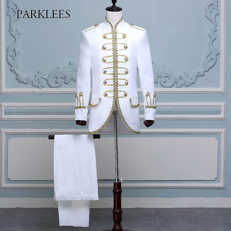 Hommes deux pièces scène Costumes Costumes Blazers Long or broderie blanc costume hommes Slim Fit scène de bal de mariage chanteur vestes Homme