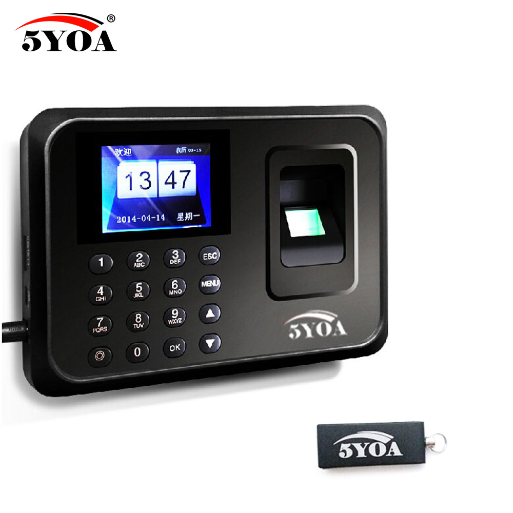 Include 1 USB Flash Drive + Biometric Fingerprint Time Clock Recorder Attendance Employee Electronic Reader Machine(China)