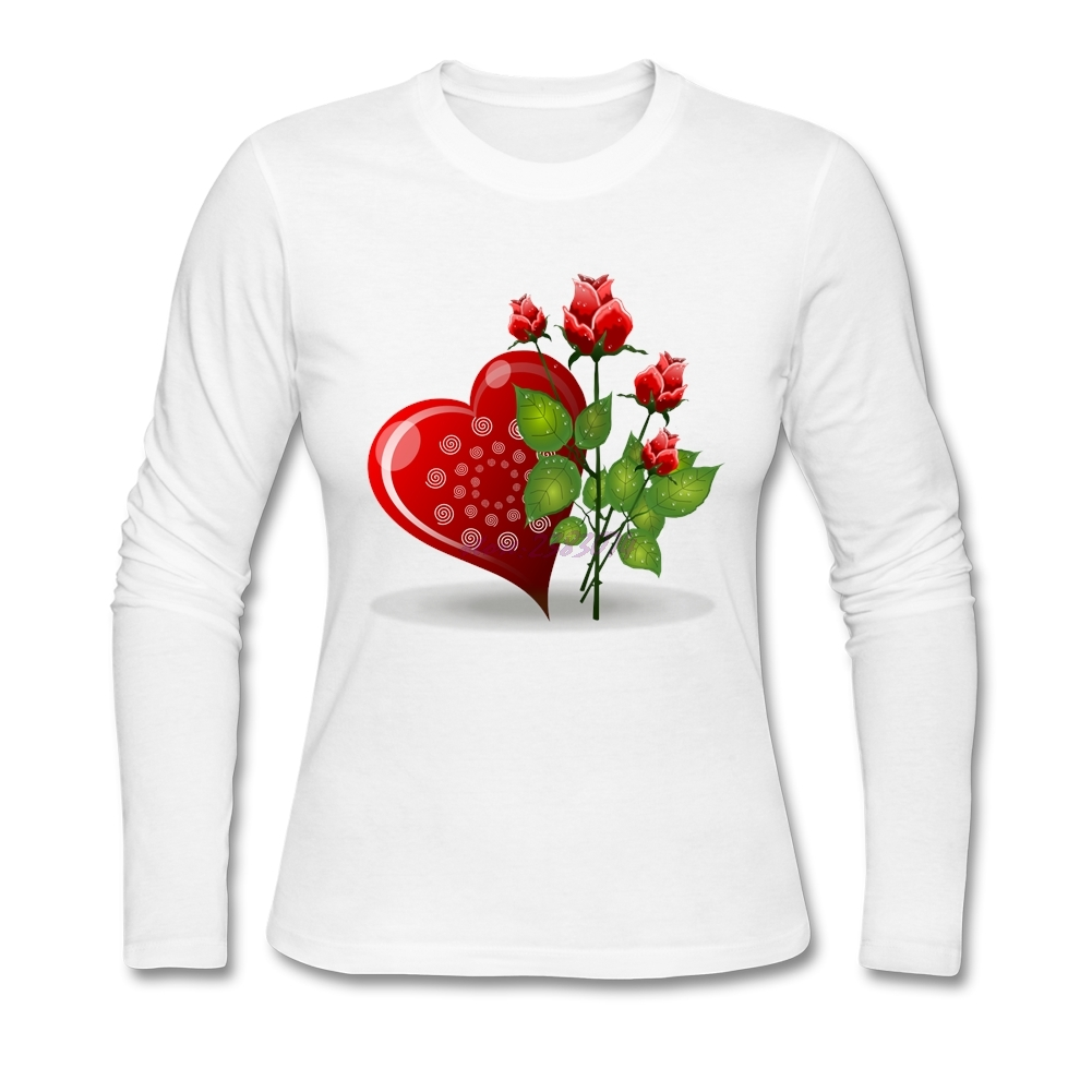 Design your own eco-friendly t-shirt - Positive Woman Love Rose Full Sleeves Tops Female 100 Cotton Round Collar Design Your Own Shirt