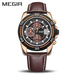 Megir marca relógio de negócios de luxo pulseira de couro cronógrafo quartzo militar relógios de pulso masculino relogio masculino 2023