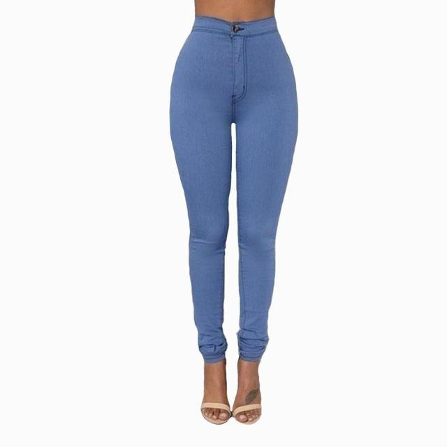 2017 Slim High Waist Jeans Skinny Candy Color Elastic Denim Jean Pants  Trousers Skinny Pencil High 2b01d0362144