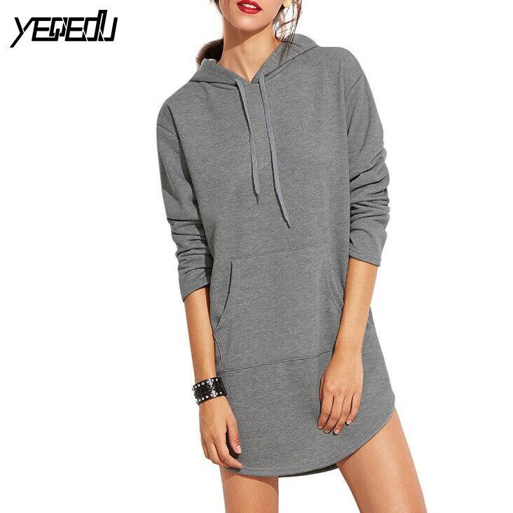 #5010 2018 European Spring Hot sell Long hoodie dress Slim Fashion Women hoodies sweatshirts Moletons femininos Solid color
