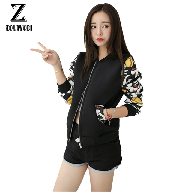 11cca82a719 2017 Women Jacket Brand Tops Flower Print Girl Plus Size Casual baseball  Sweatshirt Button Thin Bomber Long Sleeves Coat Jackets