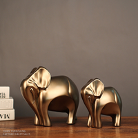 1 pair Creative gifts new home furnishing articles American imitation copper resin elephants LU727155