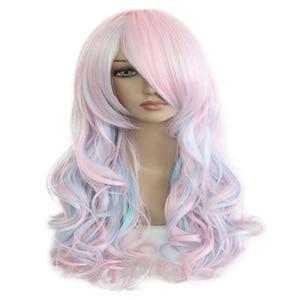 Image 4 - HAIRJOY נשים 70cm ארוך כחול מעורב ורוד גלי קלוע 2 קוקו סינטטי מסיבת פאת קוספליי 30 צבעים זמינים