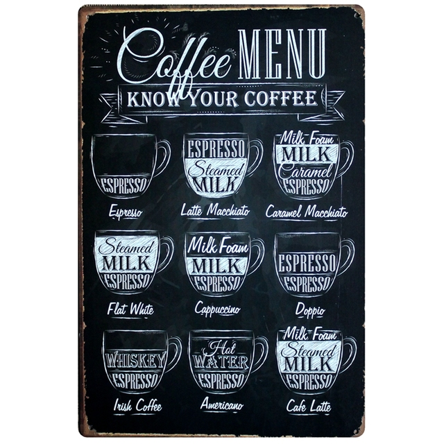 Coffee Menu Know Your Tin Sign Old Wall Metal Painting Cafe Art 20x30cm Dd-349