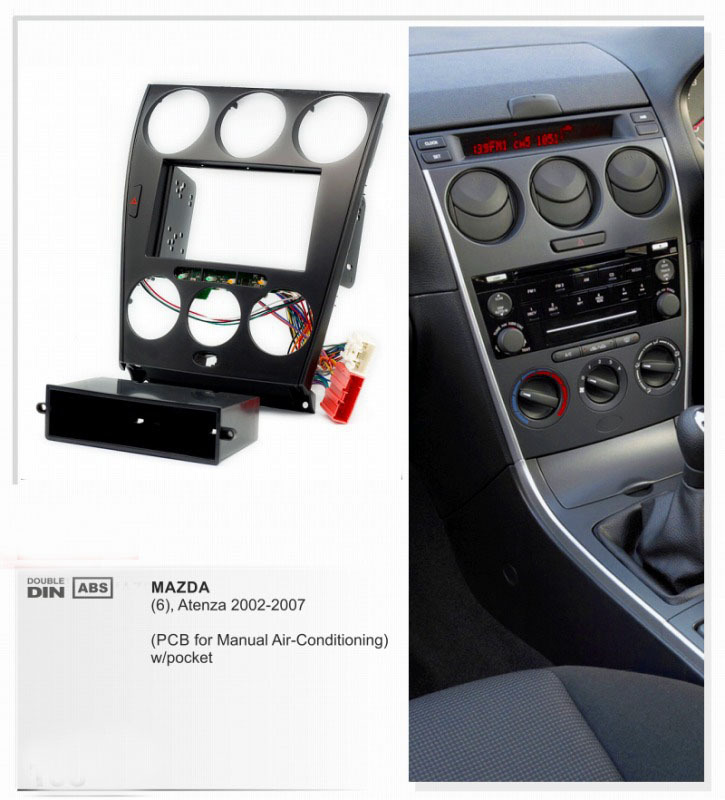XTRONS Car <font><b>Radio</b></font> Facia for <font><b>MAZDA</b></font> <font><b>6</b></font> Atenza Stereo <font><b>Dash</b></font> <font><b>Kit</b></font> Fitting Trim Installation Fascia Face Plate Surround DVD Panel Frame image