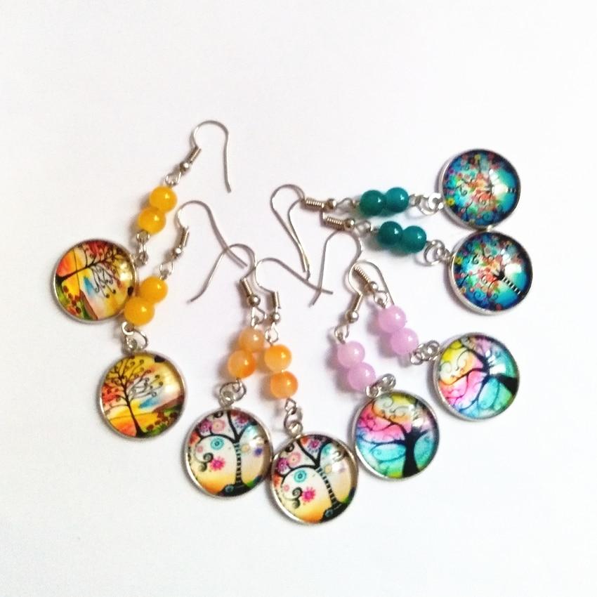 12pair/lot Colorful Convex Circular Life Tree Drop Earrings Stone Beads Earrings Handmade Orange Earrings Friendly Jewelry