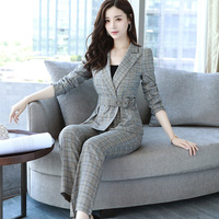Fashion 2017 New Business Pant Suits Set Blazers Formal Women OL Elegant Plaid 2 Piece Sets