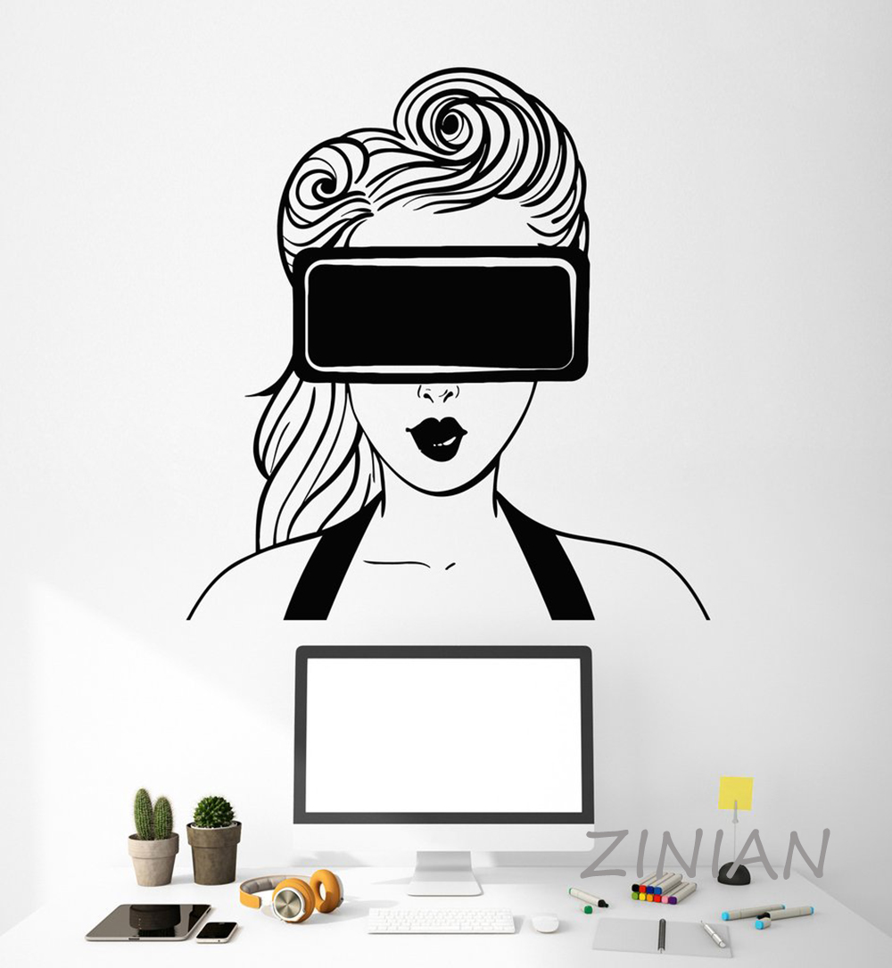 Virtual Home Decorator: VR Headset Girl Wall Stickers Home Decor Living Room