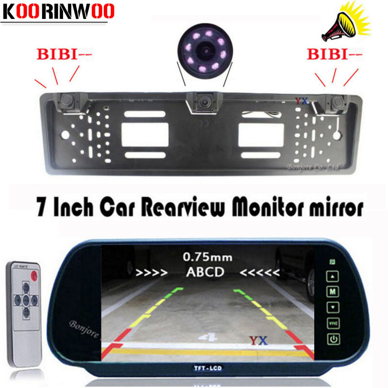 KOORINWOO New Car License Plate Frame camera Video car parking system Car Camera Car Parking sensors Monitor Parktronic Alarm koorinwoo car parking sensors 6 alarm