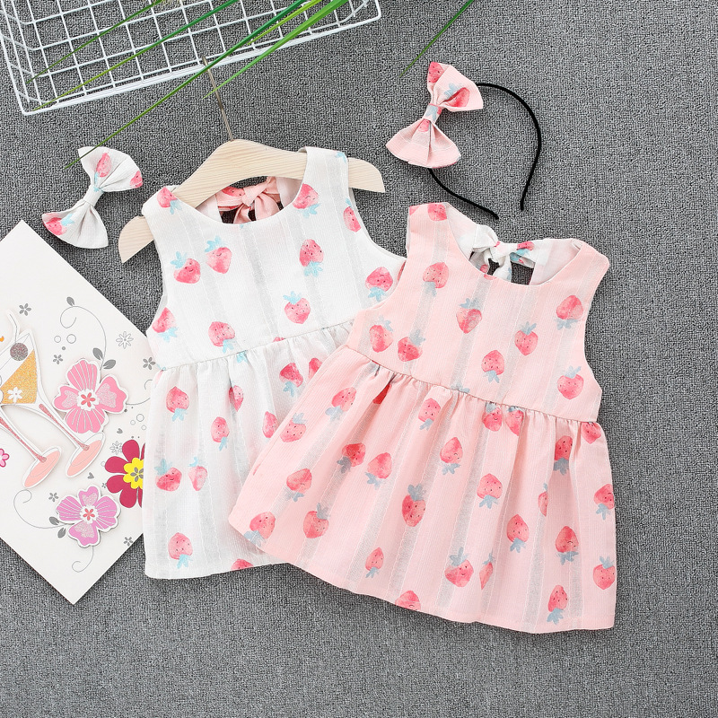 New Baby Dress For Girls Newborn Summer Baby Girl Sleeveless Strawberry Print Cotton Dresses Kids Infant Clothes Vestidos Dress