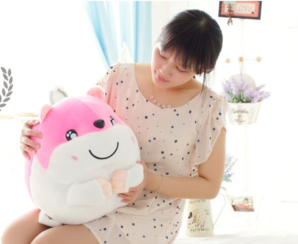 large 40cm pink Hamtaro hamster plush toy soft throw pillow Christmas gift w1890 beeztees 801445 hamster