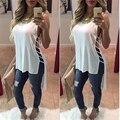 Новый Дамы Шифон Рубашка Короткий Передний Долго Назад Бинты Sexy Рубашки 2016 Женщины Моды Выдалбливают Жилет