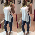 New Ladies Chiffon Shirt Short Front Long Back Bandage Sexy Shirts 2016 Women Fashion Hollow Out Vest