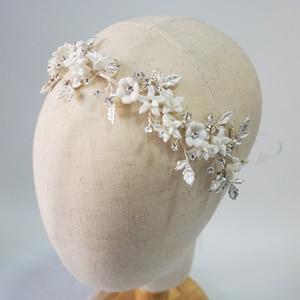 Image 4 - Romantic Clay Flower Bridal Headpiece Antique Silver Leaf Hair Vine Wedding Crown Brides Hair Accessories 2019