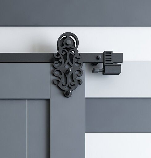 Diyhd 5ft10ft Ornate Cut Black Iron Sliding Barn Door Hardware With