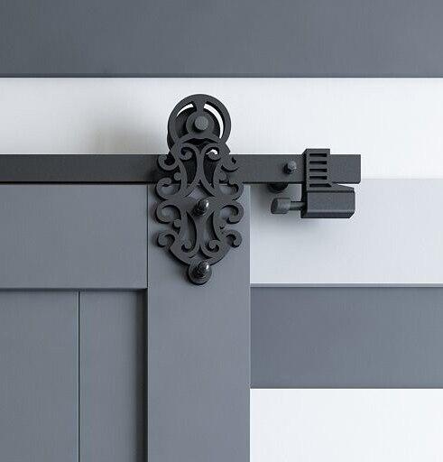 DIYHD 5FT/10FT Verzierten Cut Schwarz Eisen Schiebe Barn Door Hardware Mit  Feder In