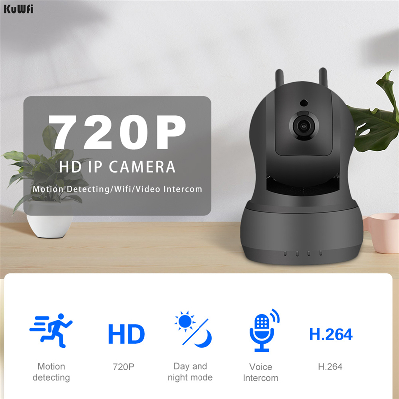 KuWFi Wifi camera Wireless Security camera WI FI Audio Record Surveillance Baby Monitor 720P IR Night Vision HD Mini IP Camera in Surveillance Cameras from Security Protection