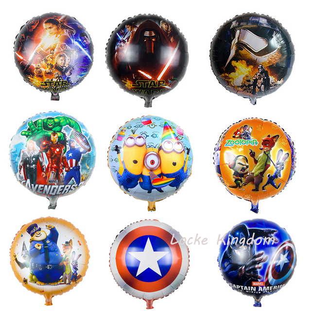 Lucky 18 Inch Cartoon Star WarsCaptain AmericaZootopia Balloon Foil Helium Balloons Birthday Party Decorations Globos Toys