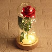 Simulation feel rose glass cover lamp eternal flower night light lover