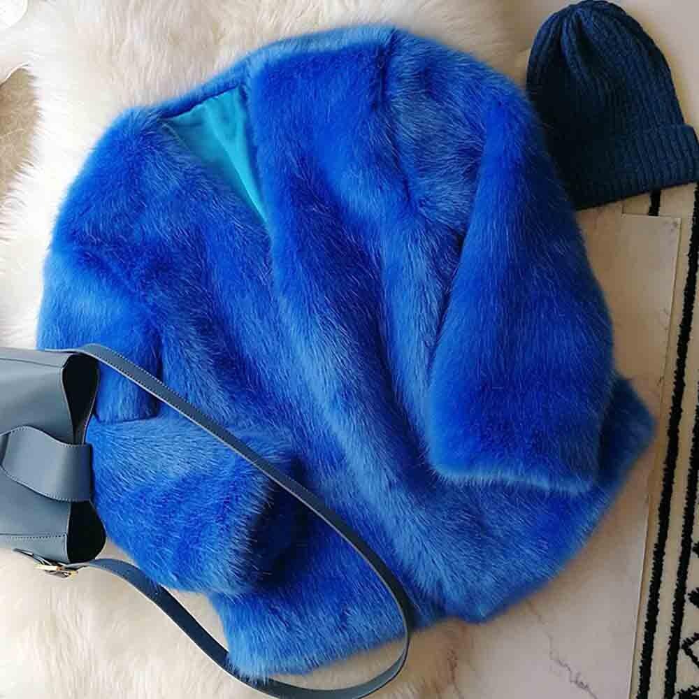 Garder Femme Blue Chaud Veste Renard Outwear Fourrure D'hiver Bleu Faux Lâche Corée 2018 Au Vintage De Poilu Élégant V Tops Shaggy Manteau Ansfx Col 4CZqT