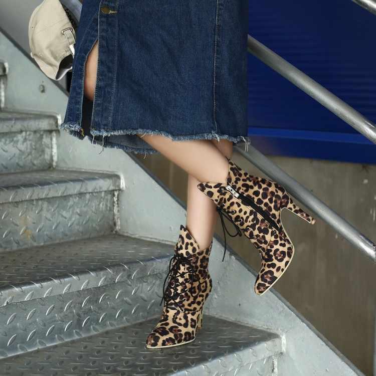 Big Size 9 10 11-15 laarzen vrouwen schoenen enkellaarsjes voor vrouwen dames laarzen Luipaard print wilg cross strap side rits