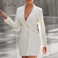 ArtSu Black Office Wear Lady Double Breasted Long Sleeve Blazer White Jacket Women New Fashion Autumn Winter Pink Long Outerwear