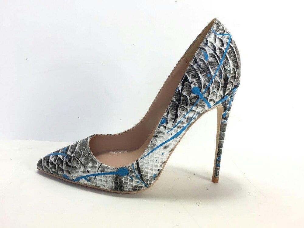 Image 4 - Keshangjia  Women Shoes Blue Snake Printed Sexy Stilettos High  Heels  Pointed Toe Women Pumpswomen pumpsstiletto high heelshoes blue