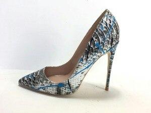 Image 4 - Keshangjia  Women Shoes Blue Snake Printed Sexy Stilettos High Heels  Pointed Toe Women Pumps