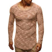 MarKyi 2019 de moda de manga larga a rayas T camisa Casual cuello redondo  sólido Plus tamaño diseño Hip Hop camisetas hombres b1b8e80fb97