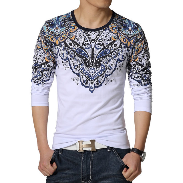 2016 New Men T shirt Mens Printed O-Neck Slim Fit Long Sleeve T-Shirts  Fashion Casual Casual Tee Shirt Men Plus Size 3XL 4XL 5XL 45648ce54d18