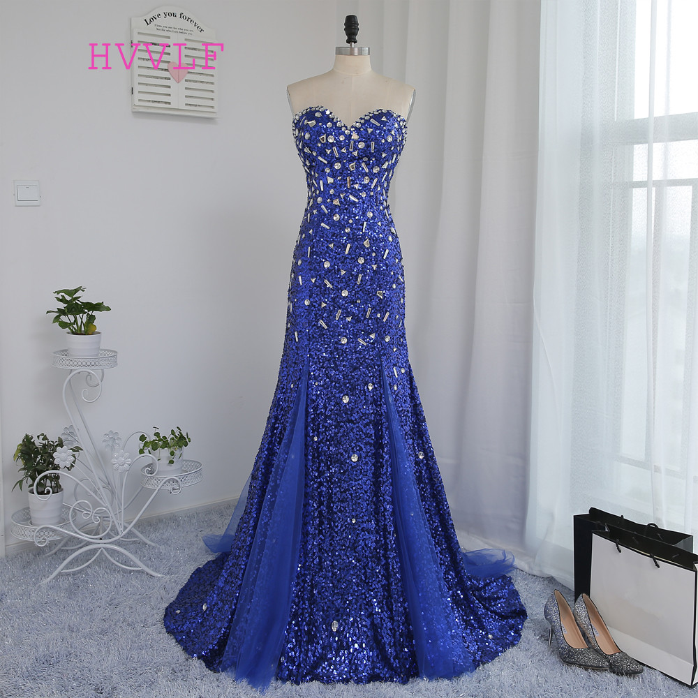 Gown Prom-Dresses Royal-Blue Beaded Sparkle-Crystals Sweetheart Mermaid Squins Backless