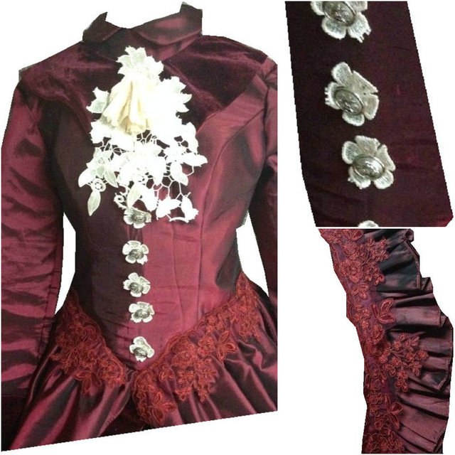 D 074 Victorian Gothic/Civil War Southern Belle loose Ball Gown Dress  Halloween Vintage dresses Sz US 6 26 XS 6XL-in Dresses from Women's  Clothing &