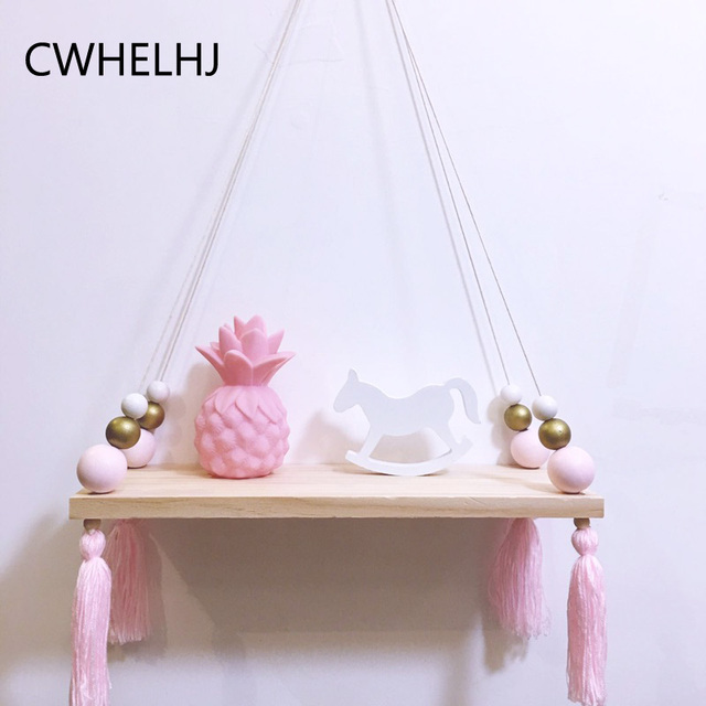 Nordic Wood Storage Board Cute Tassel Wooden Beads Wall Hanging Clothing Storage Shelf Decoration Display Holder  sc 1 st  AliExpress.com & Nordic Wood Storage Board Cute Tassel Wooden Beads Wall Hanging ...