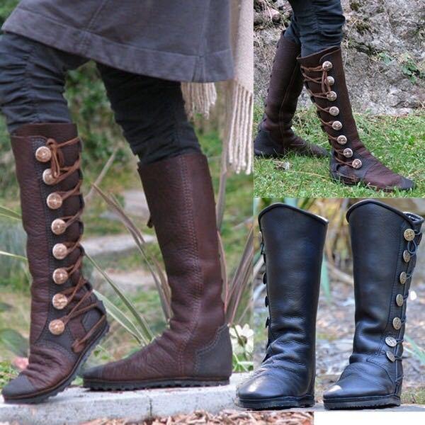 estilo atractivo última moda 100% de alta calidad Botas femeninas para mujer, botas hasta la rodilla, zapatos planos vintage  para mujer, zapatos de cuero de PU de lujo, botines de gladiador cruzados  ...