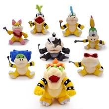 8 pcs/lot Anime Super Mario Bros Koopalings Larry Wendy Iggy Lemmy Roy Ludwig Morton Jr Peluche Doll Plush Soft Stuffed Baby Toy