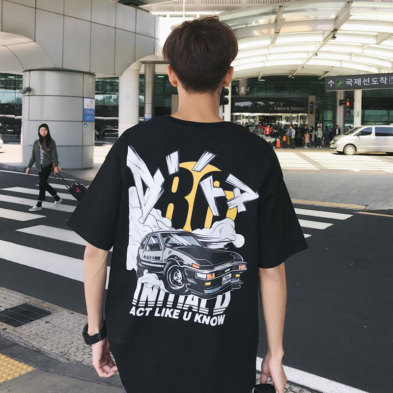 DEKUSI Short Sleeve T shirt Summer Wear New Pattern Trend Hip-hop Automobile Doodle Prin ...