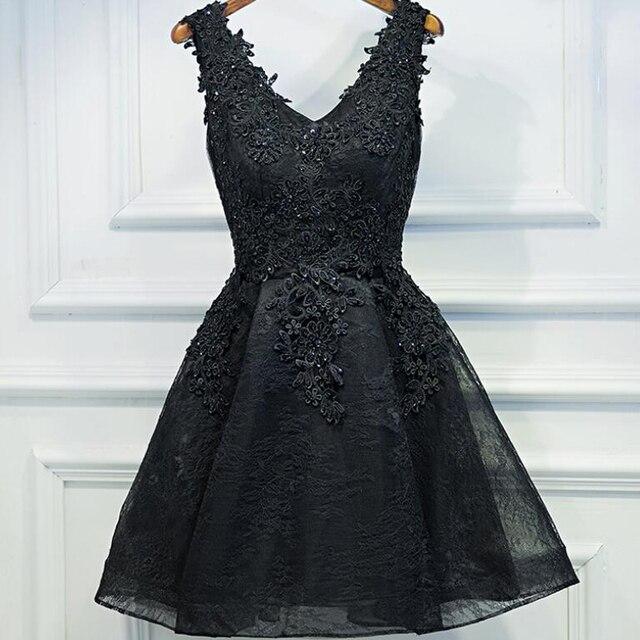283e66e965 Evening dress 2018 black short design the banquet dress one-piece dress  V-neck plus size women short evening dresses